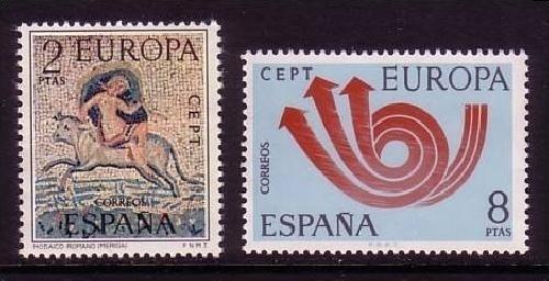 Spanien Mi Nr 2020 2021 Europa 1973 Posthorn Briefmarken