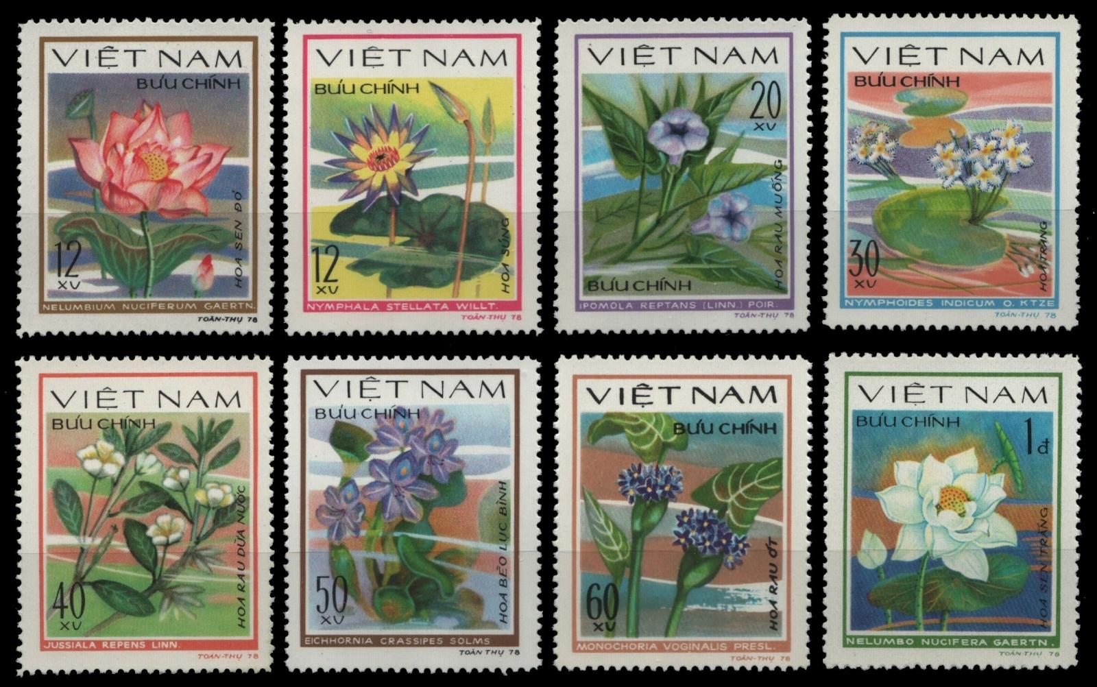 Vietnam 1980-mi-nº 1077-1084 (*) - Sans élastique Occasionnée-fleurs/flowers-afficher Le Titre D'origine
