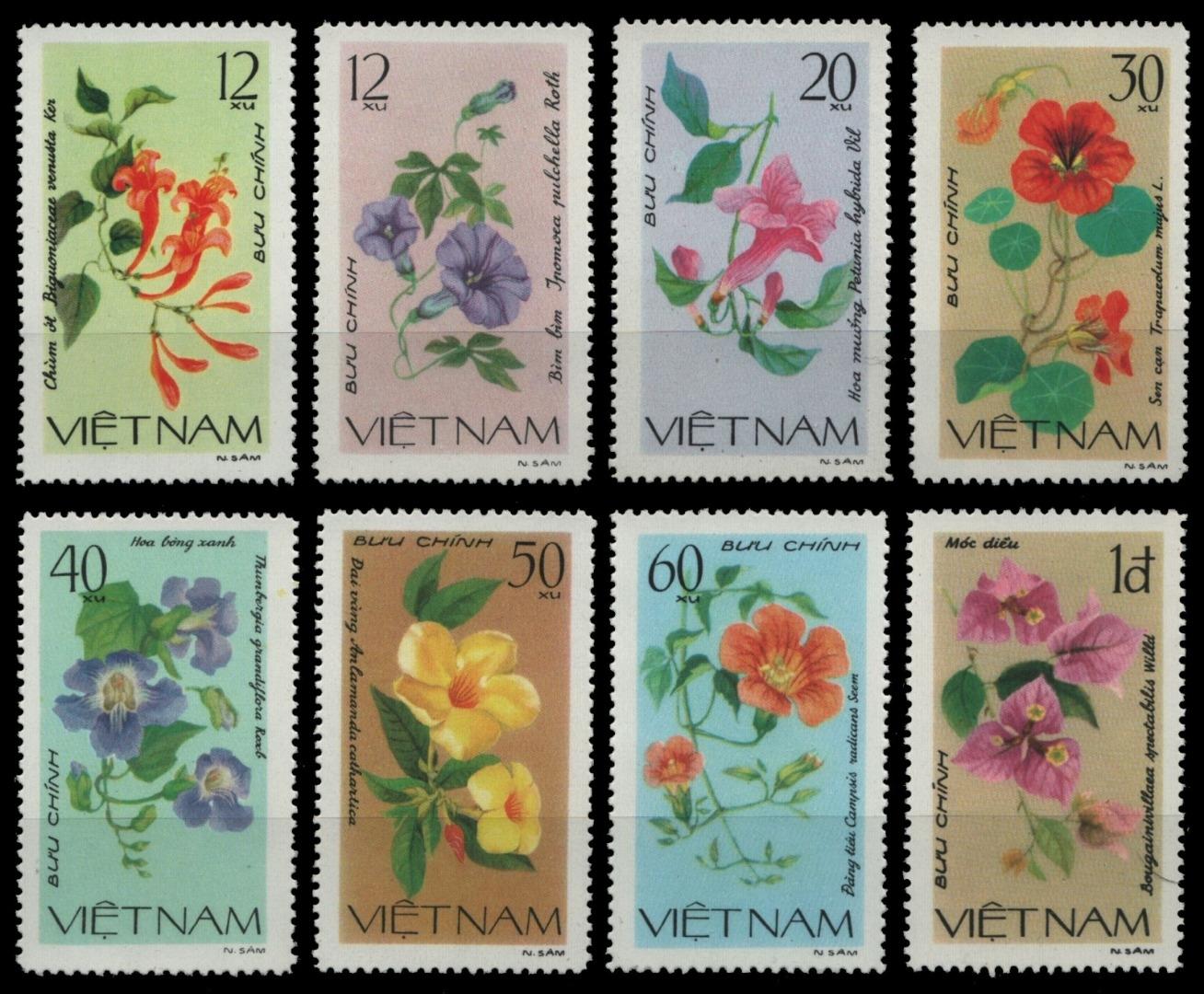 Humoristique Vietnam 1980-mi-nº 1137-1144 (*) - Sans élastique Occasionnée-fleurs/flowers-afficher Le Titre D'origine