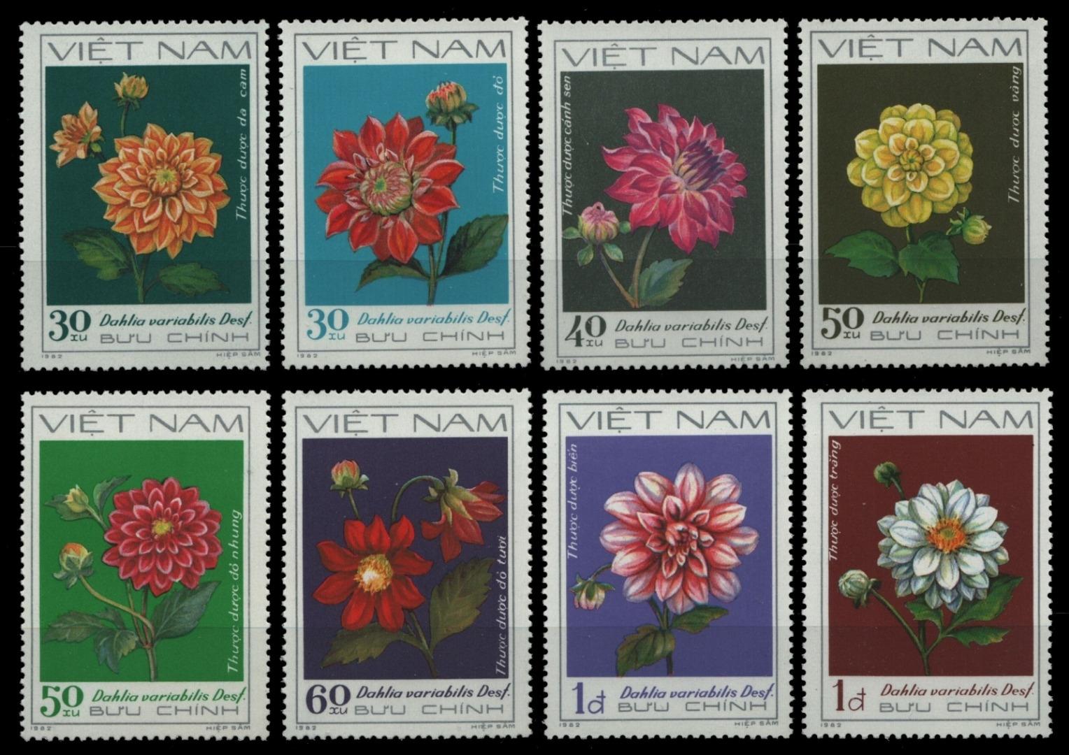 PréCis Vietnam 1982-mi-nº 1240-1247 (*) - Sans élastique Occasionnée-fleurs/flowers-afficher Le Titre D'origine Forfaits à La Mode Et Attrayants