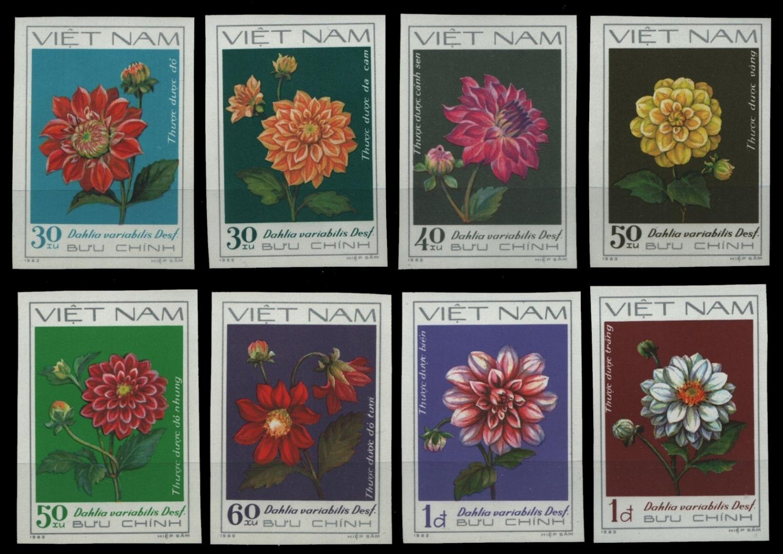 Vietnam 1982-mi-nº 1240-1247 U (*) - Sans élastique Occasionnée-fleurs/flowers-afficher Le Titre D'origine