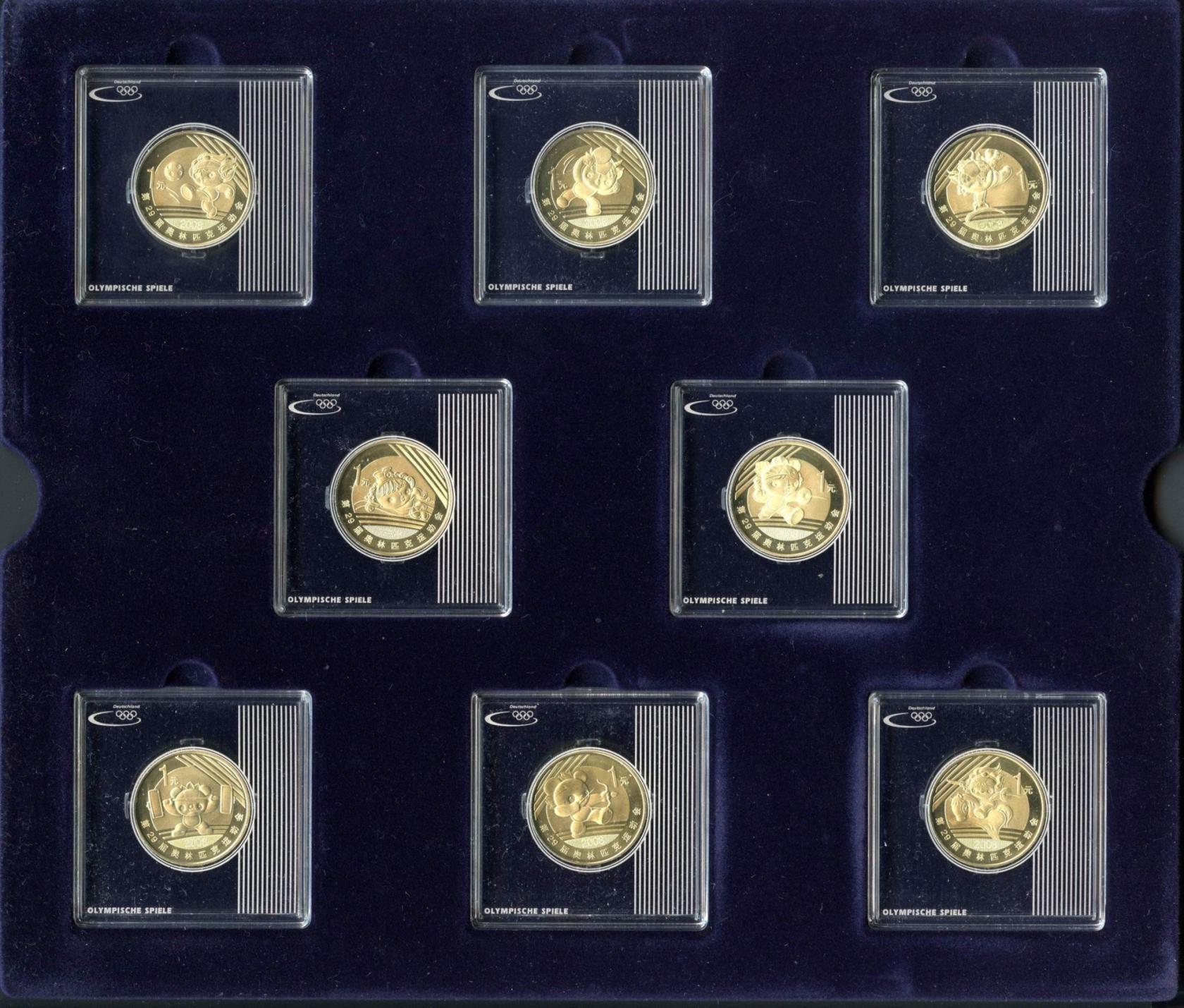 China Vr Gedenkmünzenset Peking 2008 Mit 8 1 Yuan Münzen St Aix