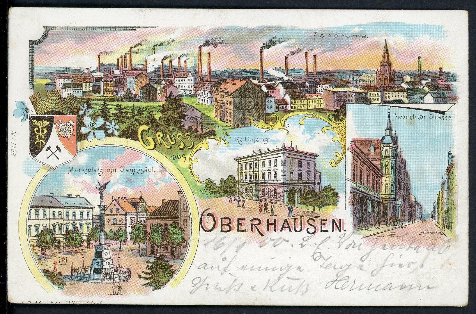 ak oberhausen 1900 marktplatz friedrich carl strasse rathaus aix phila shop. Black Bedroom Furniture Sets. Home Design Ideas
