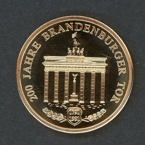 1991 Medaille 200 Jahre Brandenburger Tor Vergoldet Pp Aix Phila Shop