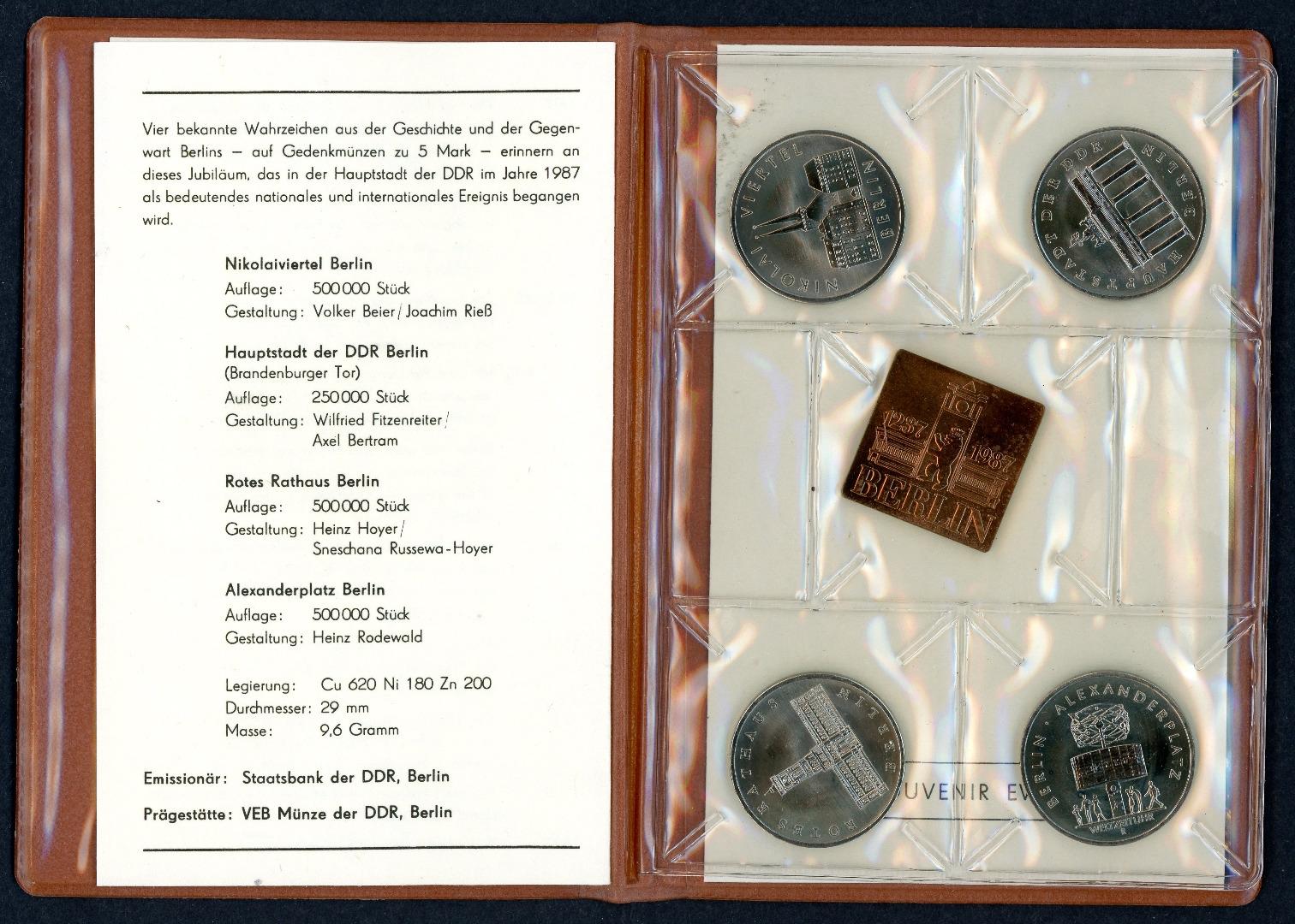 Staatsbank Der Ddr 750 Jahre Berlin 4 X 5 Mark 1987 Zzgl Medaille