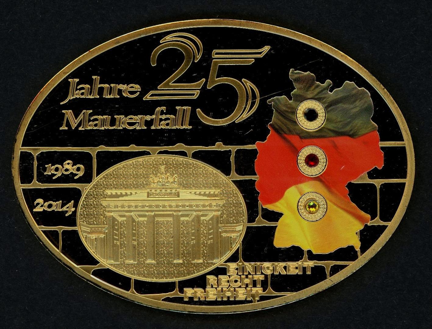 2014 Medaille 25 Jahre Mauerfall Mit Farbdruck Und Swarowski Pp