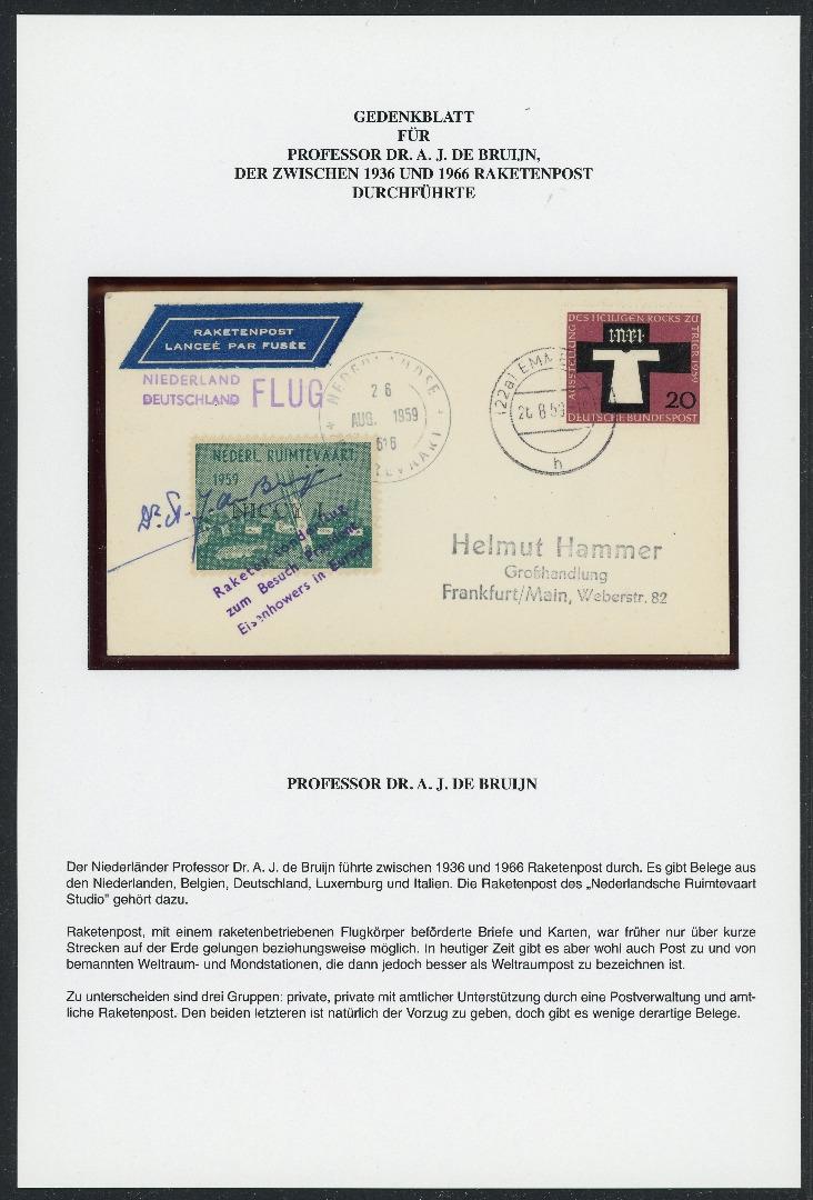 Bund Autogramm Brief Von Prof Dr A J De Brujn Raketensonderflug