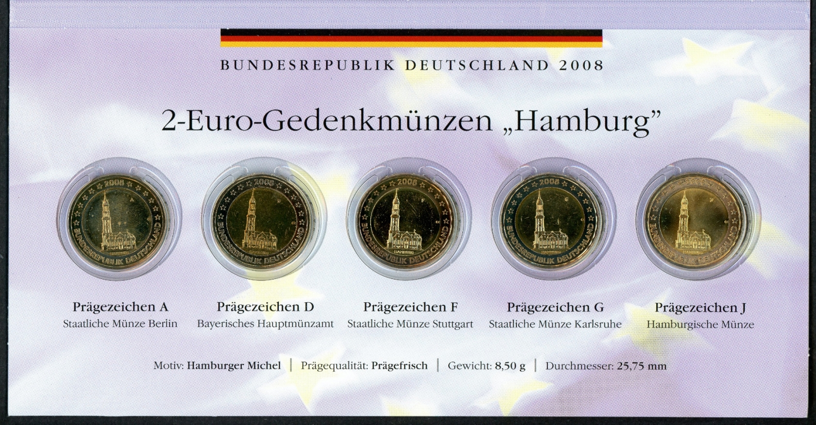 Bund 2008 Kompletter Satz 2 Euro Hamburg Adfgj Im Folder St