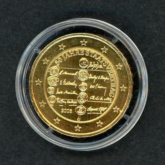 östereich 2005 2 Euro 50 Jahre Staatsvertrag Vergoldet Zertifikat