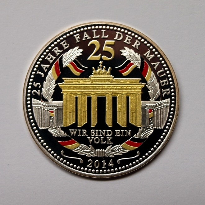 Medaille 25 Jahre Mauerfall 333er Silber Pp Farbapplikationen