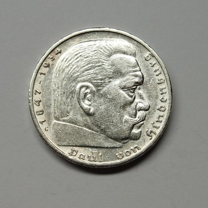 Deutsches Reich 1935 G 5 Reichsmark Hindenburg Ss Aix Phila Shop
