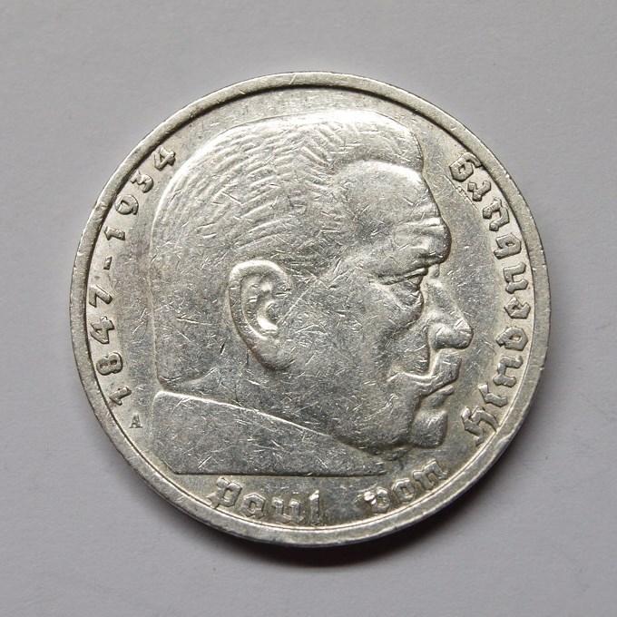Deutsches Reich 1935 A 5 Reichsmark Hindenburg Ss Aix Phila Shop