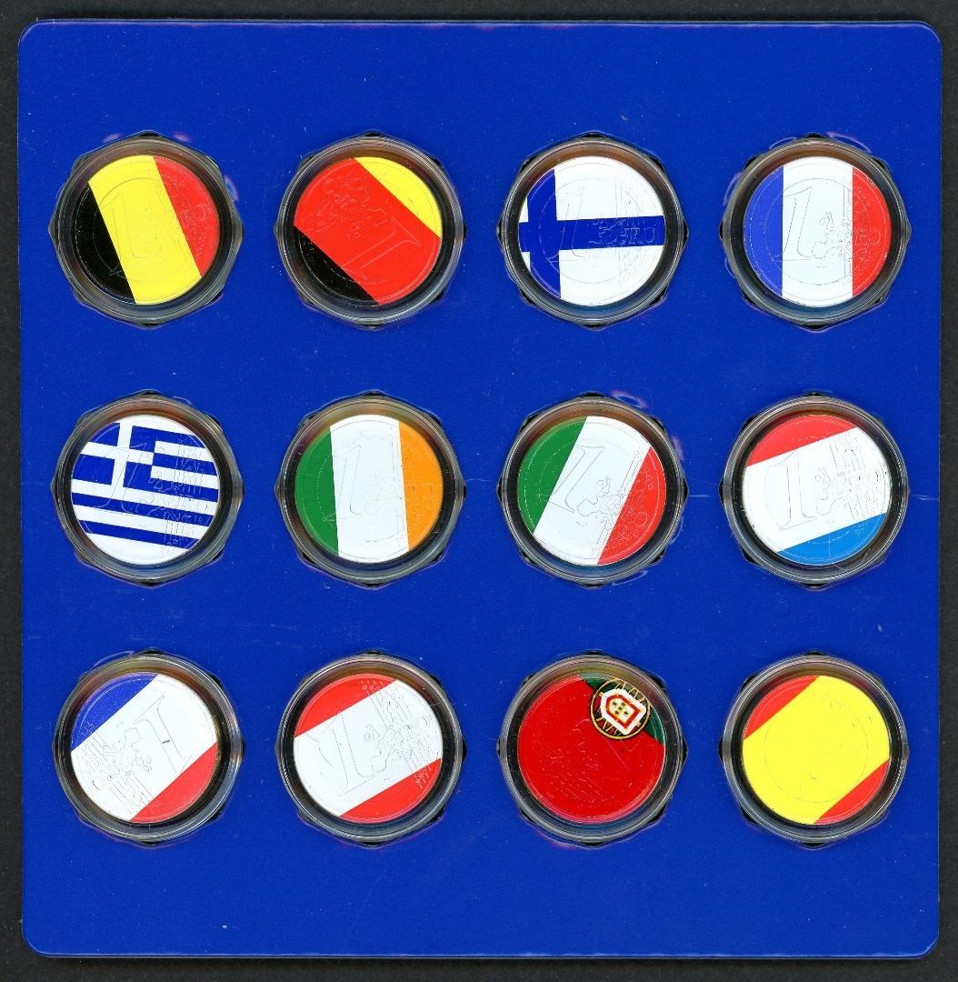 Europa 12 1 Euro Münzen In Landesfarben Coloriert Im Blister Aix