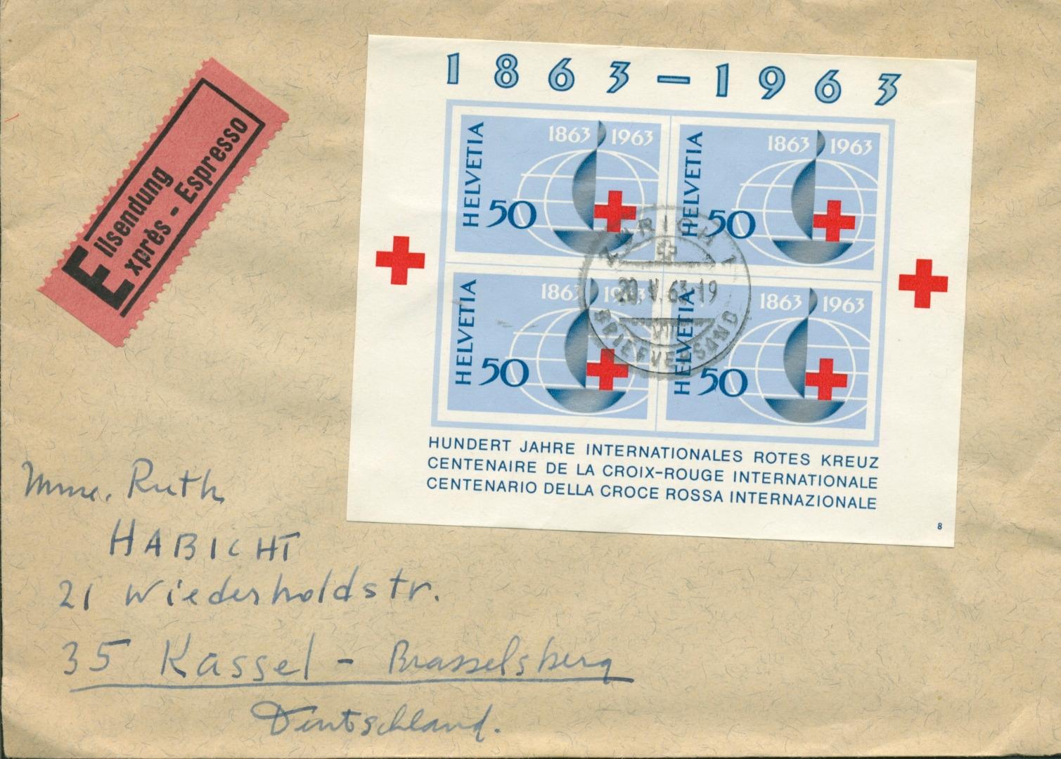 Schweiz 1963 Block 19 Auf Express Brief Nach Deutschland G5746