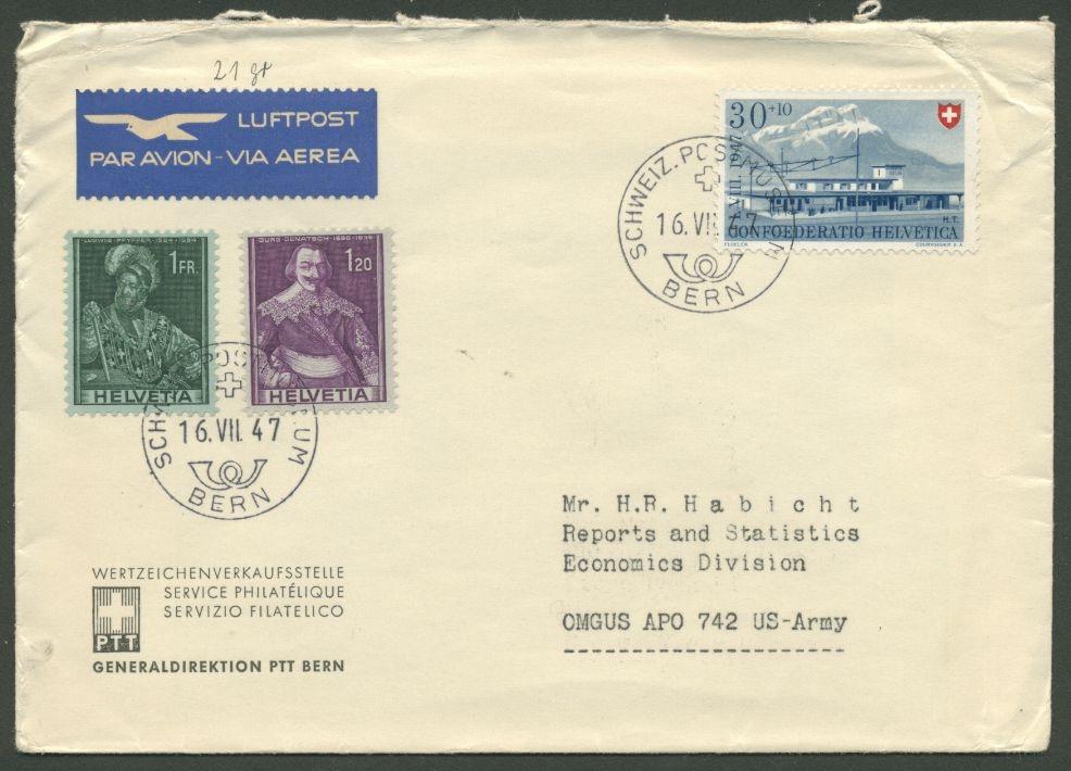 Schweiz 1947 Pro Patria 483 Mif Auf Lupo Brief Nach Deutschland