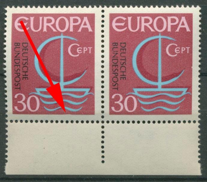 Bund 1966 Europa Plattenfehler Delle Im Unterrand 520 I Postfrisch