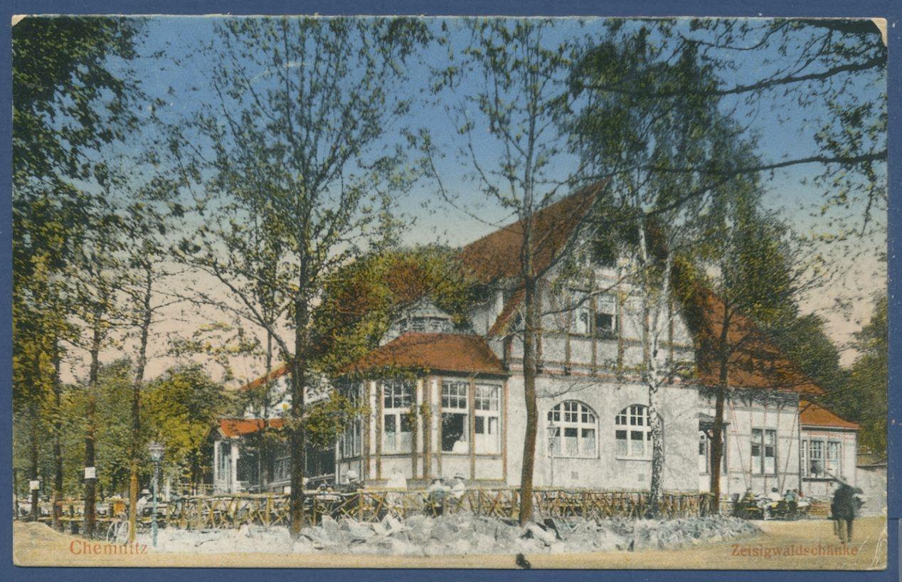 Chemnitz Zeisigwaldschänke, gelaufen 1921 (AK921) - Briefmarken Dr ...
