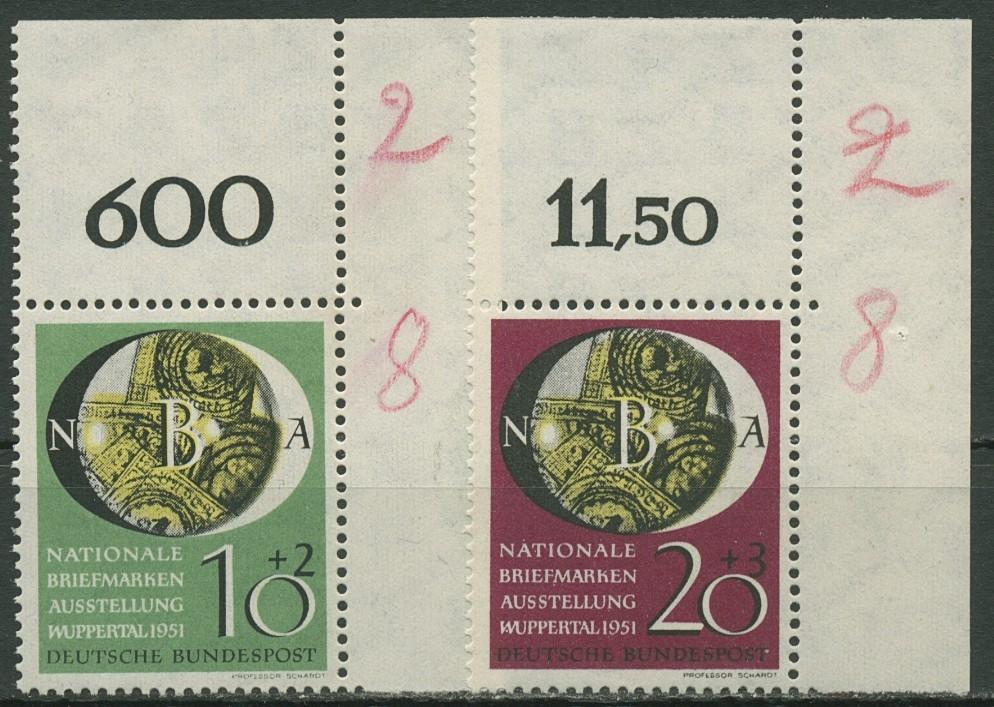 Bund 1951 Nat Briefmarken Ausstellung Wuppertal 14142 Ecke O Re