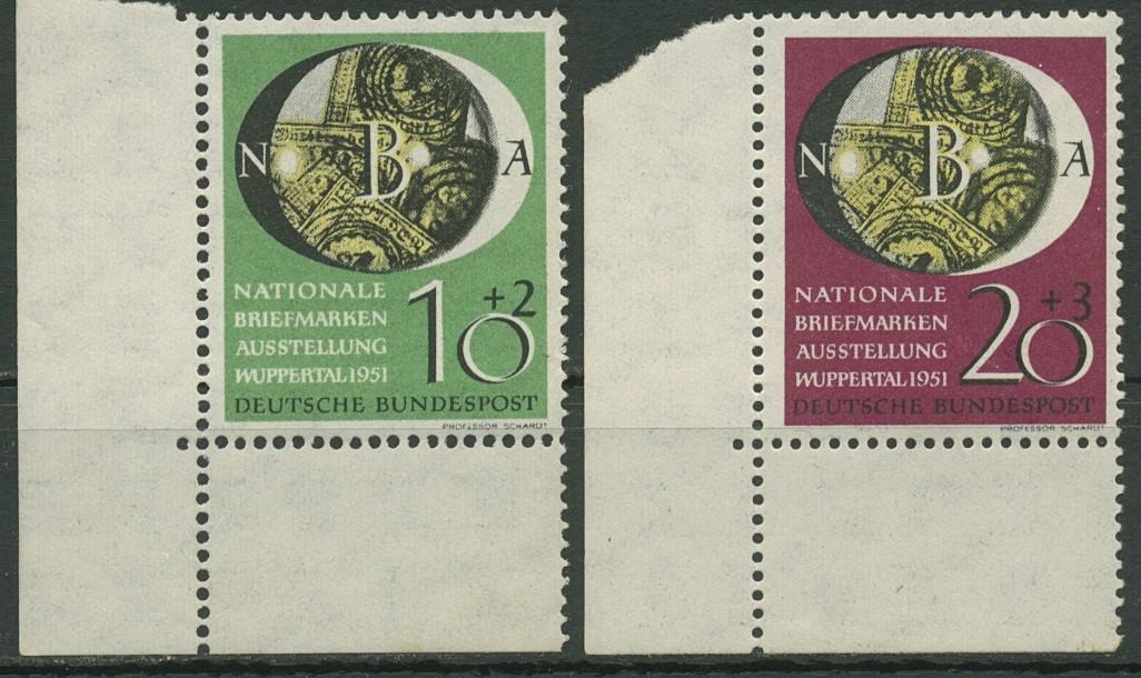 Bund 1951 Nat Briefmarken Ausstellung Wuppertal 14142 Ecke U Li