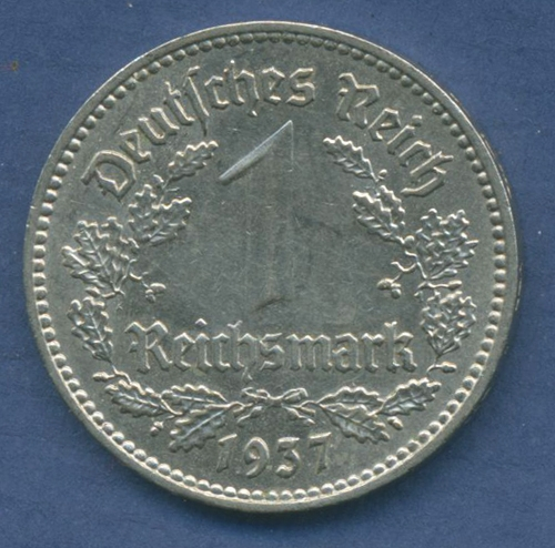 Deutsches Reich 1 Mark 1937 A Kursmünze Nickel J 354 Vz M1575