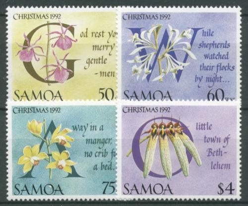 samoa 1992 weihnachten orchideen weihnachtslieder 742 45 postfrisch