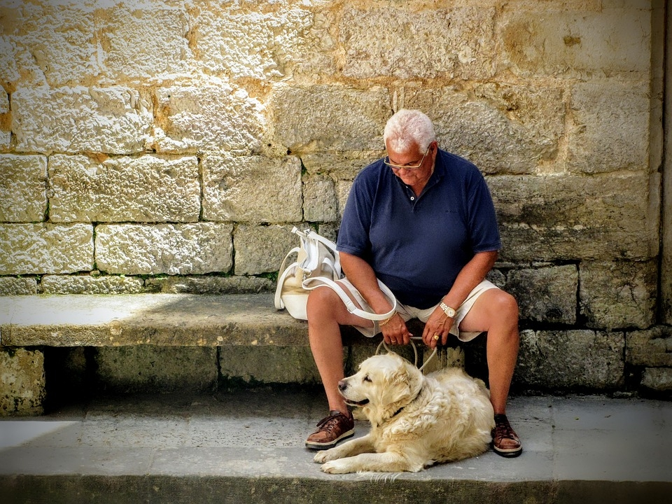 Image result for old person and a puppy