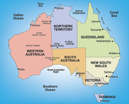 Map of Australia's regions and cities