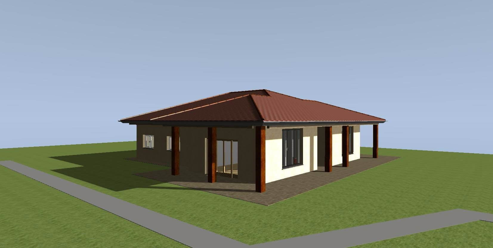 Costruzione edificio mono piano con tetto in legno mq for Progetto casa in legno pdf