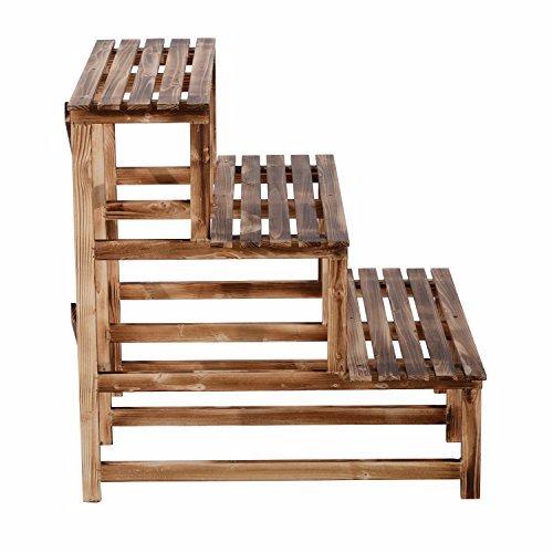 Porta piante in legno con 3 ripiani a scaletta 80x70x70 - Portavasi da finestra ...