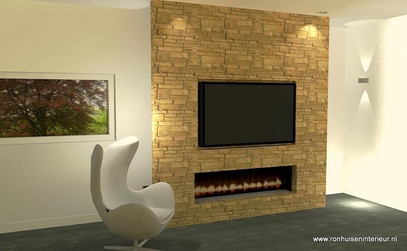 Ombouw koof tussenmuur voor tv en elektrische haard werkspot - Imitatie natuursteen muur tegel ...