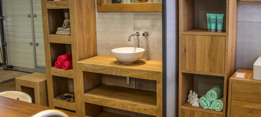steigerhouten wastafelmeubel + kast badkamer - werkspot, Badkamer