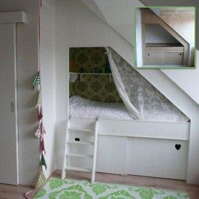 Bedstee onder schuine wand maken werkspot - Wand trap ...