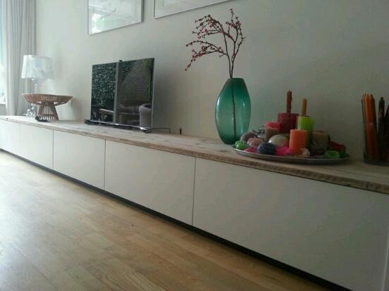 Steigerhouten bovenblad maken voor op tv meubel besta van for Houten meubels woonkamer