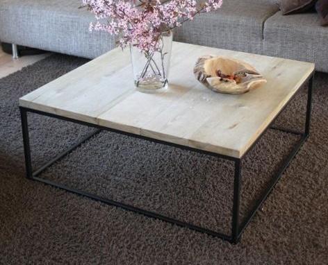 Salontafel eikenhout met zwart metalen frame werkspot