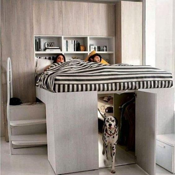Verhoogd Bed Met Opslag Kastruimte Ontwerpen Of Advies