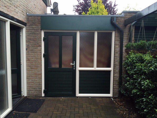 Verrassend Garagedeur vervangen voor een vaste deur met een raam kozijn er WM-58