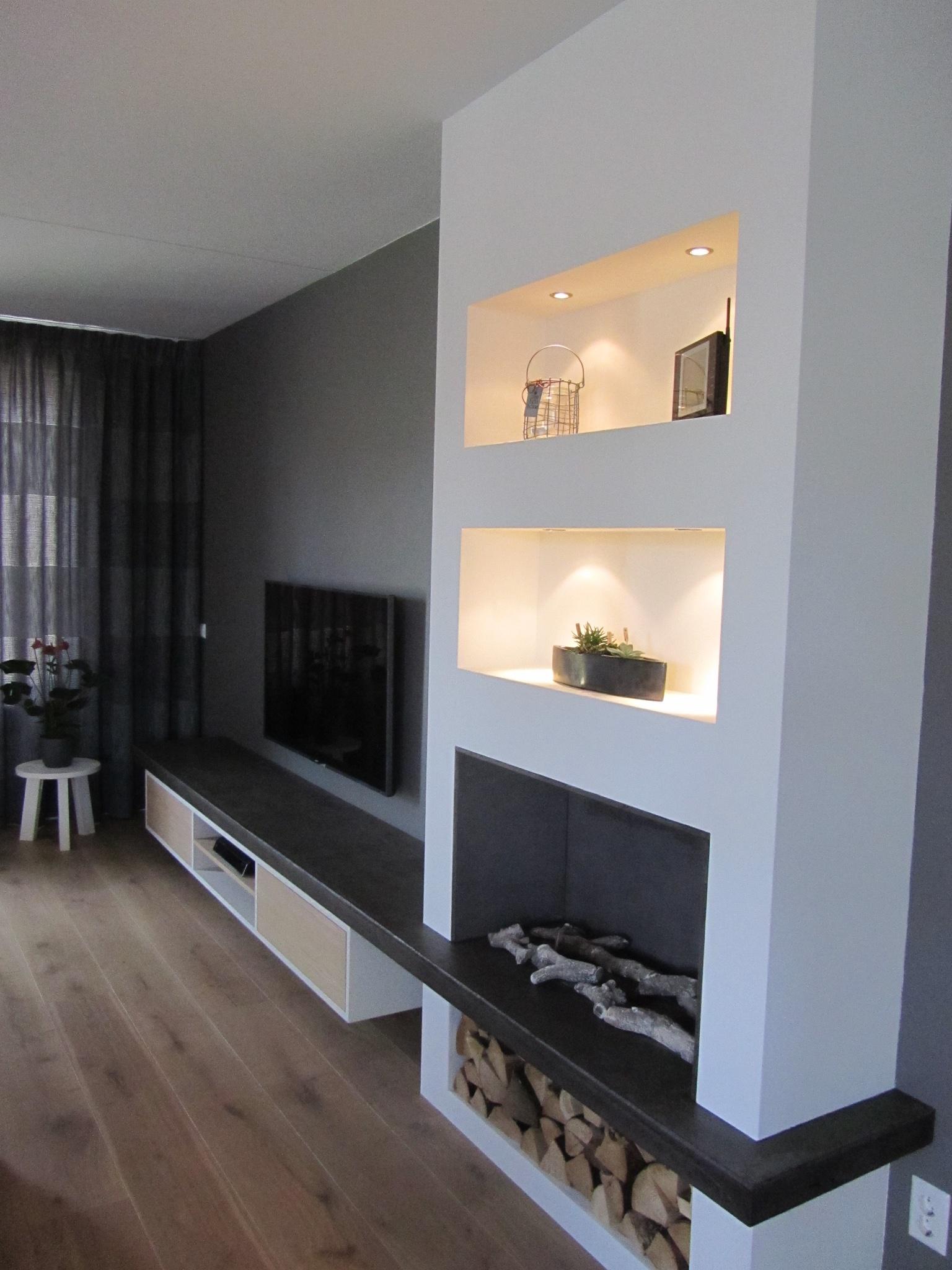 Tv Meubel Wand.Tv Meubel Inclusief Wand Met Vakken En Ruimte Voor Nep Haard
