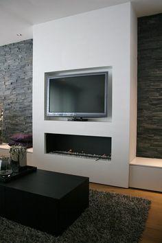 Voorzet wand maken voor tv en openhaard en steenstrips aan de muur werkspot - Deco tv muur ...