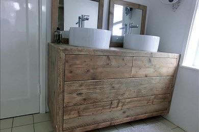 Badkamermeubel maken van oud steigerhout werkspot