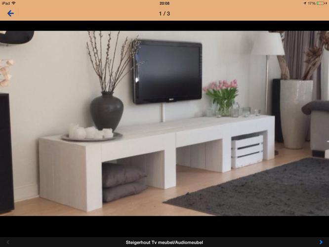Tv meubel maken katten huisjes voor over de kattenbakken for Steigerhout tv meubel maken