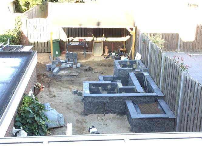 U vormige bak gemaakt van betonblokken daarin moet folie for Vijverrand maken