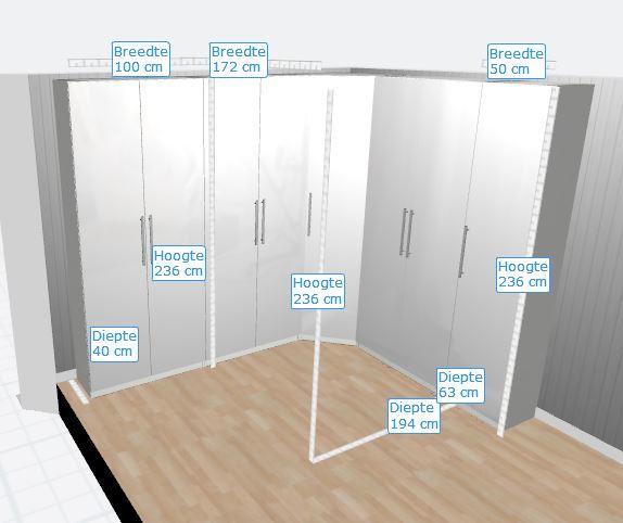 Nieuwe Ikea Pax Kast Plaatsen Afmetingen Zie Plaatje