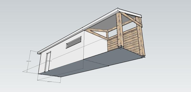 Houten berging met veranda werkspot - Veranda met dakpan ...