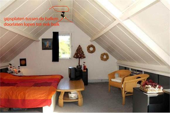 Gipsplaten en afwerking zolderkamer 40 m2 plaatsen radiator werkspot - Kamer met balken ...