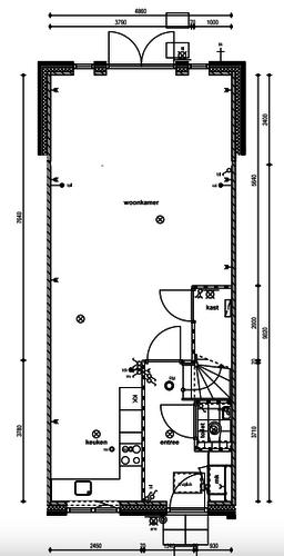Indeling advies woonkamer / keuken met lichtplan - Werkspot