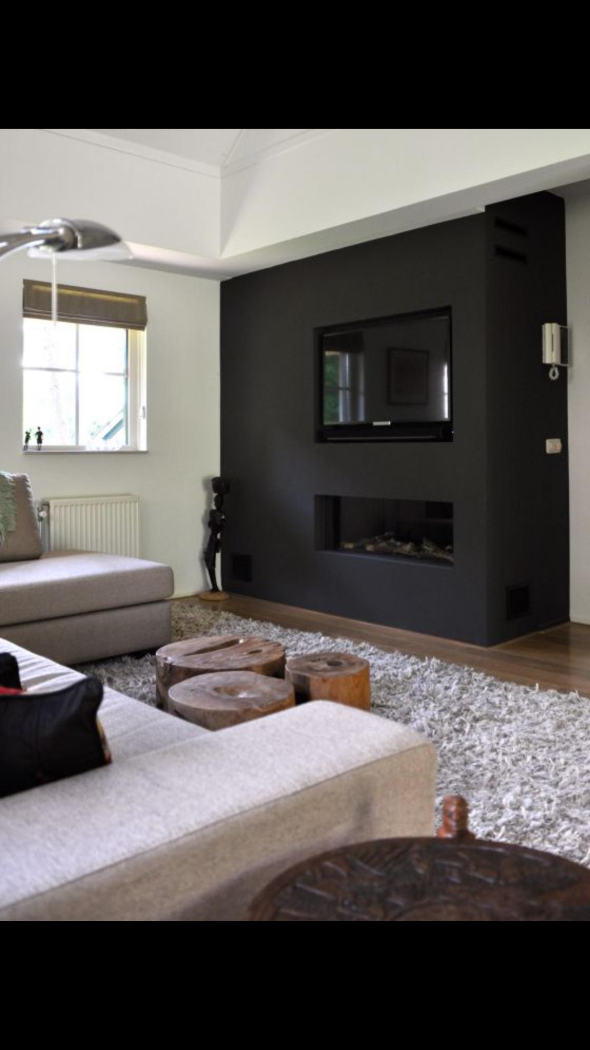 inbouw elektrische sfeerhaard en tv woonkamer