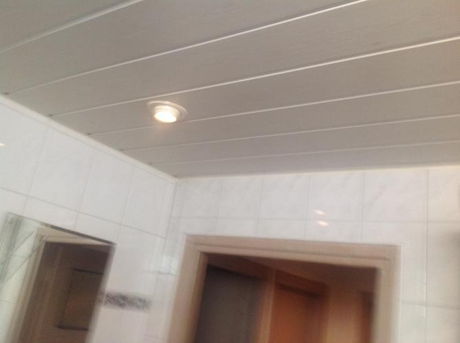 plaatsen van kunststof schroten plafond in badkamer werkspot
