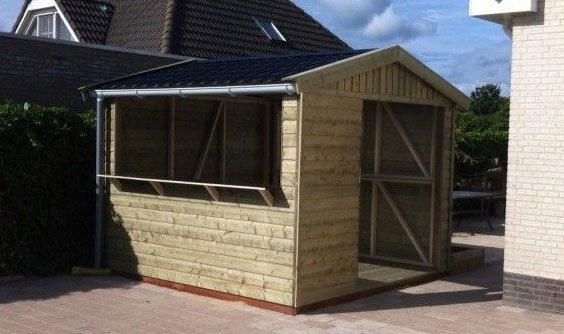 Houten tuinhuisje bouwen 3 x 3 meter werkspot - Bouw een overdekt terras ...