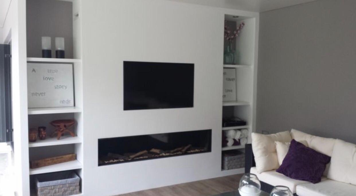 Tv In Muur : Tv en elektrische open haard in de muur inbouwen m breed werkspot