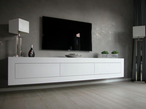 zwevend tv meubel van 200x40x40 cm van wit zijdeglans werkspot. Black Bedroom Furniture Sets. Home Design Ideas
